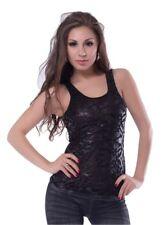 Damen Oberteil T-Shirt Schwarz Tank Top mit Spitze Blumen Applikation S/36