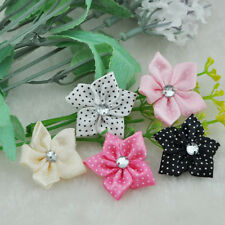 20pcs dots ribbon flowers bows with rhinestone craft appliques wedding Diy B17