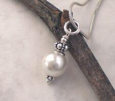 MUSCHELKERN Anhänger Perle weiß 925 Silber, Perlenanhänger Vintage p917