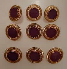 8 x 18mm Large Gold and Purple Wheel Effect Round Plastic Shank Buttons - FX48m