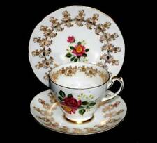 Vintage Hammersley English bone china pink rose & gold teacup trio set