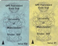 GPT MERCURY PAYTELCO PAIR OF MANCHESTER FIELD TRIAL 1991 TEST USED PHONECARDS