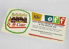Bel vecchio Coca-Cola Cedola USA Anni 1950 - 10c off Otto Bottiglia Cartone