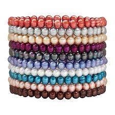 Set of 10 6-7 mm Ringed Freshwater Pearl Multi-Color Stretch Bracelets