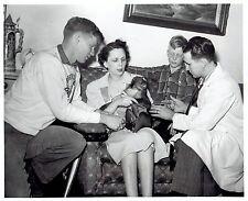 "1948 Original Photo Veterinarian Dr. Benson gives ""Joe"" the monkey a shot"