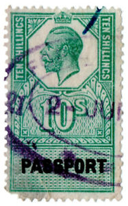 (I.B) George V Revenue : Passport Office 10/-
