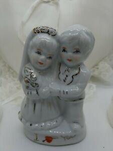 Vintage Wedding Cake Topper Porcelain Gold Trim Bride & Groom I ❤ You! Plus More