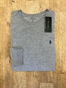 Ralph Lauren Men's Custom Fit Long Sleeve Crew Neck T-Shirt - Grey - Medium
