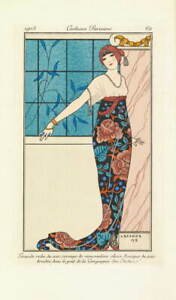 George Barbier Evening gown with silk Poster Reproduction Giclee Canvas Print