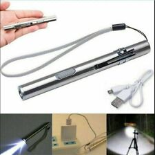 Pocket Tactic Flashlight Torch LED Pen USB Rechargeable Light Outdoor Camping