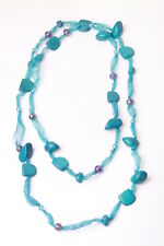 AQUA MARINE BEACH WEAR TURQUOISE NECKLACE BEADED PARTY TIME (ZX19)