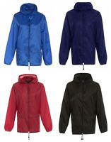 Kids Boys Girls Cagoule Light Rain Jacket Coat Hooded Pac A Mac Showerproof Mac