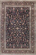 Vintage All-Over Floral NAVY BLUE Kashaan Area Rug Hand-made Wool Oriental 9x13