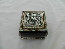 "Egyptian Inlaid Mother of Pearl Paua Jewelry Handmade Box 3""X 3"" # 412"