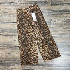 Zara Jeans Size 2 Women's Wide Leg Raw Hem Leopard Print Boho Festival NEW