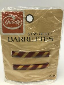 """Vintage Goody Stay Tight Barrettes Metal 2.25"""" Gold Brown Stripes NOS 3103"""