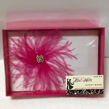 NIB STUDIO HIS & HERS Pink Feather Floral and Lace WEDDING GUEST BOOK