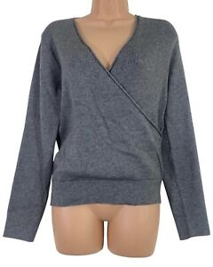 BNWT OASIS grey ribbed wrap jumper size L Large UK 14 RRP £36