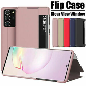 Smart Leather Flip Clear View Mirror Case Cover  For Samsung Galaxy S21 Plus S20