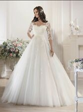 UK 2016 Plus Size White/Ivory Half Sleeve Wedding Dress Bridal Gown Size 6-28