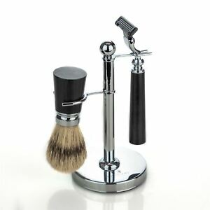 Traditional Shaving Set with Brush and Stand - Black