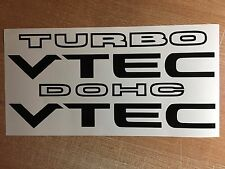 "i-VTEC DOHC/TURBO (2 PACK) 9"" BLACK emblem Vinyl Sticker Honda Civic Decal Euro"