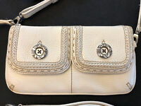 Brighton Pebbles White Leather Wallet Wrist-let Vintage Two Straps