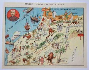 MOROCCO NICE PICTORIAL MAP 1930 XXe CENTURY ORIGINAL