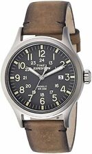 5cb59756b New Timex Expedition Scout Brown Leather Strap Gray Dial Date Outdoor  TW4B01700