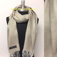 Men's 100% Cashmere Scarf Made Scotland Herring Bone Tweed Soft Beige/White#Nr26