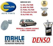 FOR RENAULT GRAND SCENIC 1.9 DCI 2004-2009 OIL AIR FUEL POLLEN FILTER & 5LTR OIL