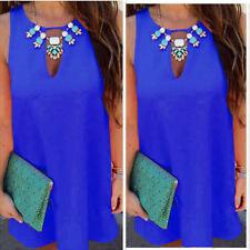 UK Womens Choker Neck Chiffon Mini Dress Ladies Sleeveless Summer Long Top Shirt