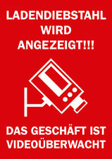 """Rahmenschild """"Ladendiebstahl / Videoüberwacht"""" Aktionsschild DIN A4"""