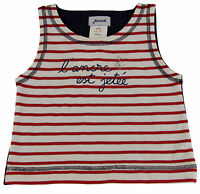 JACADI Girl's Merlin Adorable Red / White Striped Tank Top Size 10 Years NWT $32