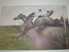Steeplechasing G D Armour 1902 old colour print