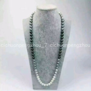 Fashion 8-9mm Natural South Sea Black White Gray Pearl Necklace 18-48'' AA