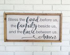 "Large Rustic Wood Sign - ""Bless the food before us. ."" - Framed, Farmhouse Style"