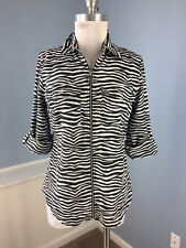 Michael kors S Black White Animal Print zebra Exposed Zip Blouse roll tab slv