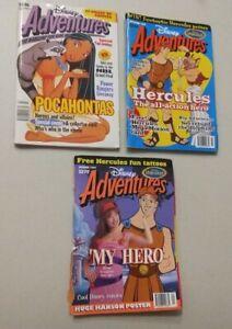 3 x Disney Adventures magazines 1995 & 1997 Hercules Pocohontas