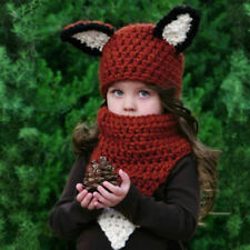 Baby Girls Boy Toddler Kids Winter Fox Hooded Scarf Hat Wool Knitted Crochet Cap