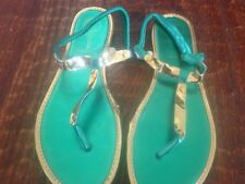 New * SHINY Bright GREEN & GOLD Dressy STRAPPY Flat SANDALS * sz 40 (7.5)