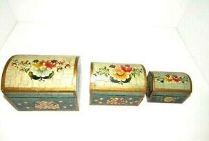 Hand Painted Nesting Boxes Wooden Keepsake Jewelry Trinket Box Set of 3
