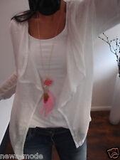 Cardigan Neu Jacke M L Cotton WESTE Blogger Shirt Trend Italy Mustahave F56 Weiß