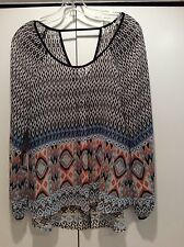 Ladies Hi-Low Sheer Printed Blouse Size Small