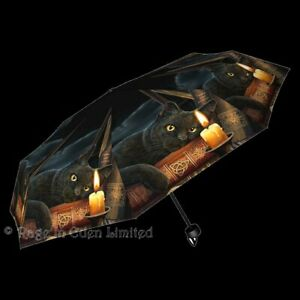 *THE WITCHING HOUR* Gothic Fantasy Black Cat Art Folding Umbrella By Lisa Parker