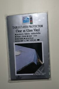 Plastics Clear Plastic Tablecloth, 60 by 90-Inch, Oval