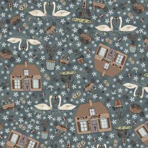 Lynette Anderson Swan Cottage by Nutex Fabrics Colour 101 ~ per long quarter