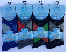 6 PAIRS NON ELASTIC DIABETIC MENS EASY GRIP LOOSE TOP CLASSIC RICH COTTON SOCKS