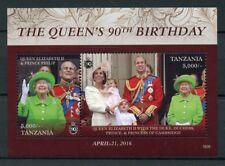 Tanzania 2016 MNH Queen Elizabeth II 90th Birthday Anniv 2v S/S Royalty Stamps