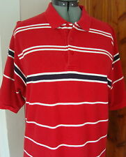 Mens Source Jeans L Dark Red White NavyBlack Stripe 100% Cotton SS Polo Shirt